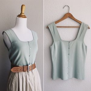 Eucalyptus Button Front Stretchy Knit Tank